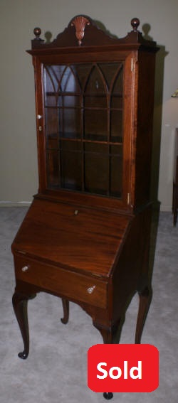 solid mahogany queen anne petite secretary desk