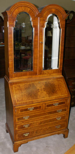 inlaid blind door english walnut secretary with mirrored doors