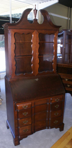 Red mahogany block front secretary desk