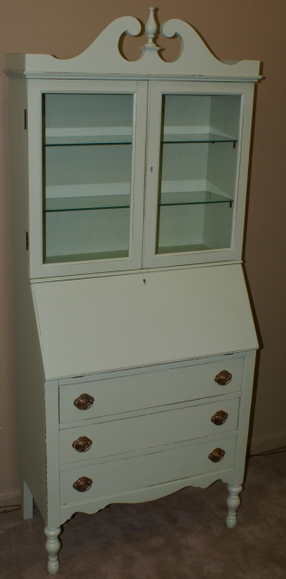 Shabby Chic Painted Green Secretary Desk