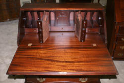 Ox bow front mahogany antique Governor Winthrop desk