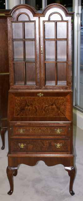 Double Bonnet Top Queen Anne Burl Walnut Inlaid Secretary Desk