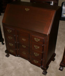 Solid mahogany block front Chippendale secretary desk