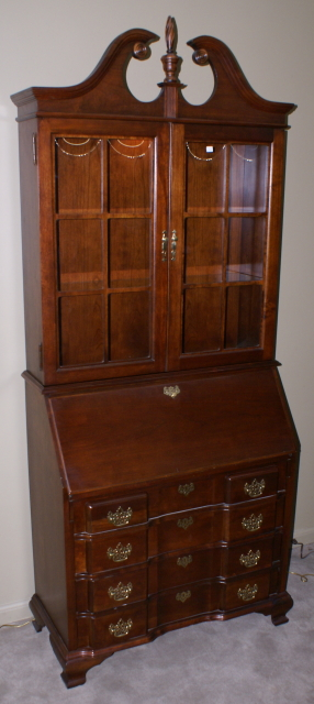 Solid cherry Jasper Cabinet Company block front Chippendale ...