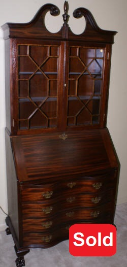 Chippendale mahgoany serpentine front antique secretary desk