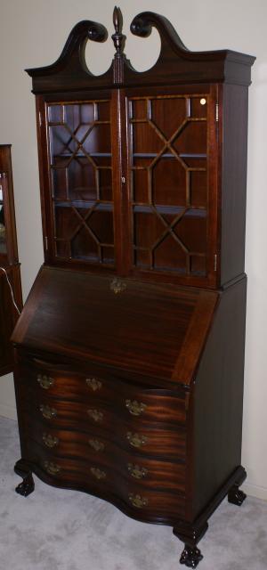 Chippendale Mahogany Serpentine Front Antique Secretary Desk