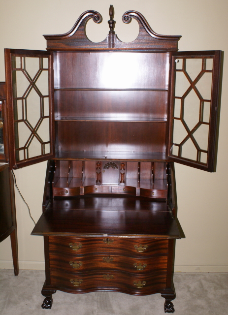 - Chippendale Mahogany Serpentine Front Antique Secretary Desk