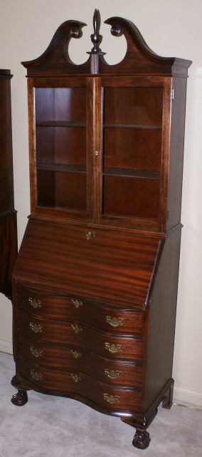 Antique Home Library: Serpentine Front Mahogany Secretary Desk