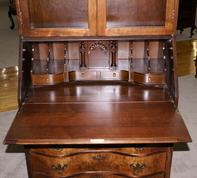 Flame Walnut 1930s Antique Secretary Desk