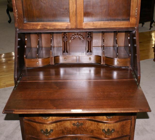 - Flame Walnut 1930s Antique Secretary Desk