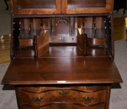Flame Walnut 1930s Antique Secretary Desk