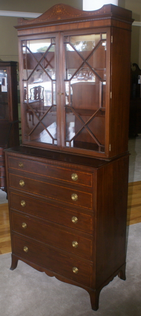 Antique Hepplewhite Mahogany Butlers Secretary Desk