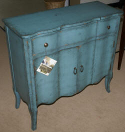 Pulaski Furniture Company distressed turquoise accent chest / server