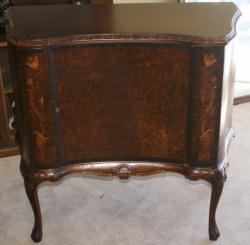 French carved antique flower inlaid walnut server