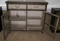 Pulaski Furniture Company distressed two tone wine cabinet
