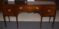 Kittinger mahogany pencil inlaid sideboard with wine storage