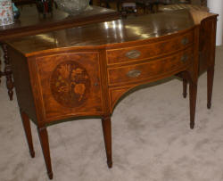 19th century walnut flower inlaid sideboard