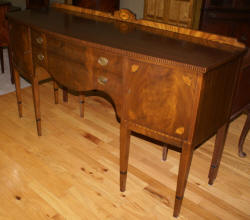image of walnut barley twist inlaid sideboard