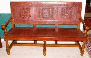 image of leather covered wood bench