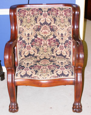 image of mahogany paw foot Empire settee and chair