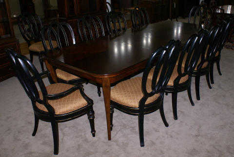 Modern Bassett Cherry Dining Room Table And Set Of 12