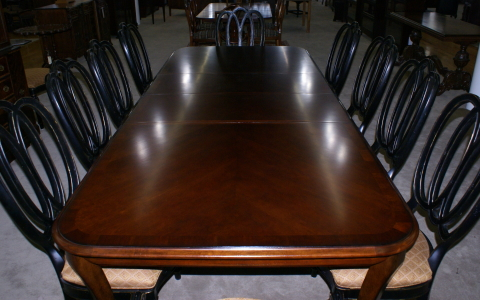 Modern Bassett Cherry dining room table and set of 12 painted ...