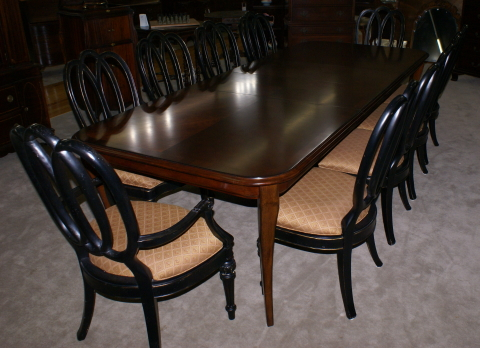 Modern Bassett Cherry Dining Room Table And Set Of 12 Painted Black Regency Chairs