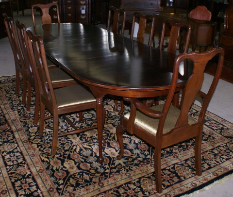 Modern solid cherry queen anne table and 8 dining room chairs for Dining room chairs queen anne