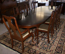 Modern walnut Queen Anne dining room table and 8 chairs
