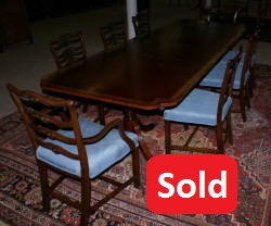 Banded Inlaid Modern Mahogany Dining Room Table With A Set Of 8 1940s Ribbon Back Solid