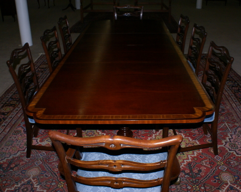 Banded Inlaid Modern Dining Room Table With A Set Of 8 1940s Ribbon
