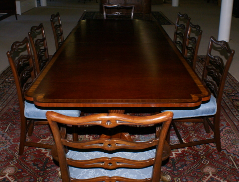 Wondrous Banded Inlaid Modern Dining Room Table With A Set Of 8 1940S Short Links Chair Design For Home Short Linksinfo