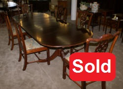 ... Oval Banded Inlaid Mahogany Duncan Phyfe Dining Room Table And Six  Solid Mahogany Dining Room Chairs 4