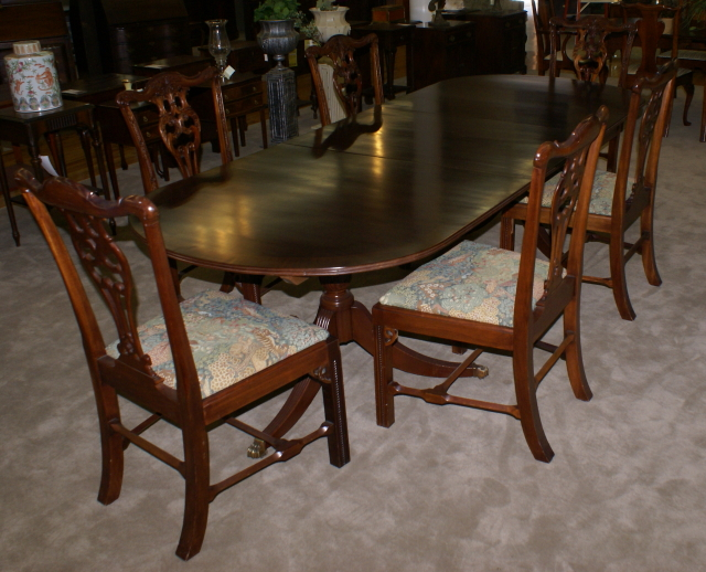 Oval banded inlaid dining room table and six Chippendale dining – Mahogany Dining Room Chairs
