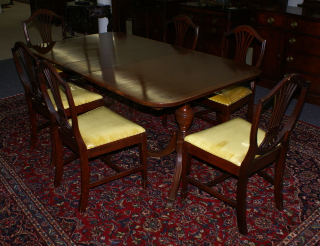 mahogany banded inlaid duncan phyfe dining room table and set of