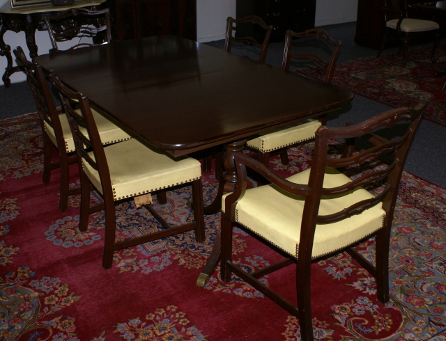 mahogany duncan phyfe dining room table and set of six ribbon back
