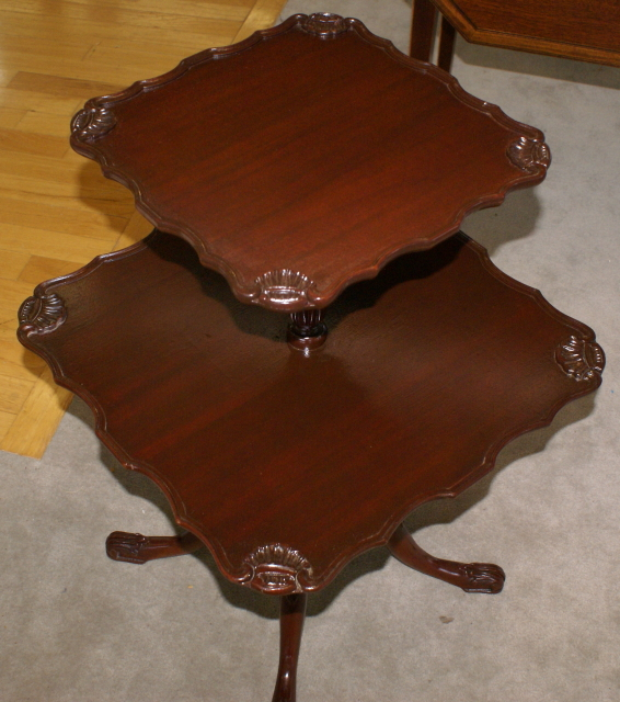 Antique Two Tier Mahogany Pie Crust Table