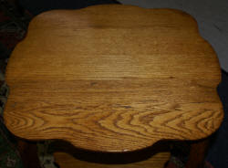 Antique solid oak scalloped edge table