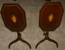 Pair of Conch shell inlaid mahogany candle stands