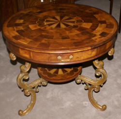 Jonathan Charles inlaid round Oyster veneer top table