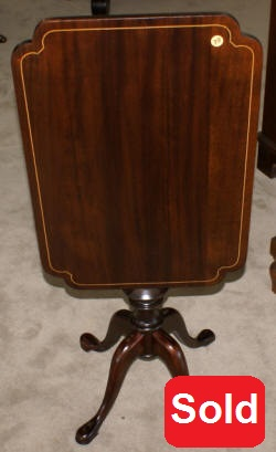 Flip top mahogany pencil inlaid Queen Anne side table
