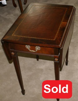 Flame Mahogany Leather Top One Drawer Pembroke Table ...