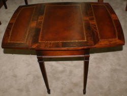 Flame mahogany leather top one drawer Pembroke table