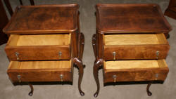 Beautiful matched pair of elegant Queen Anne walnut antique 2 drawer stands