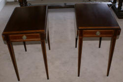 Pair of mahogany banded inlaid Pembroke tables