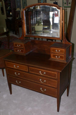 English mahogany inlaid vanity with mirror