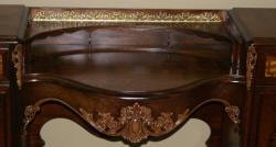 Rosewood and walnut inlaid vanity and mirror