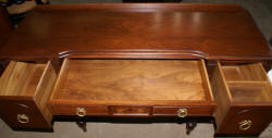 French carved antique walnut inlaid vanity and needlepoint vanity bench