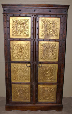 Gothic tin covered teak wood wardrobe
